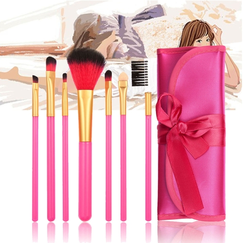 Professional Superb 7pcs All-round Makeup Brush Set Tools Rose Red Fitted Cosmetic Folding Case