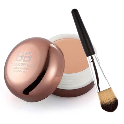 Moisten Concealer Block Defect Cover Flaw Paste With Makeup Kit Brush BB Cream Wooden Makeup Brush