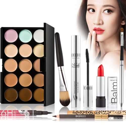 7ST. Make-up luxuriöse Geschenk Set Pack 15 Farbe Creme Camouflage Hehler Palette Erde Ton Eyeliner Mascara Augenbrauenstift Lipbrush lippenstift make-up Pinsel mit Make-up Tasche