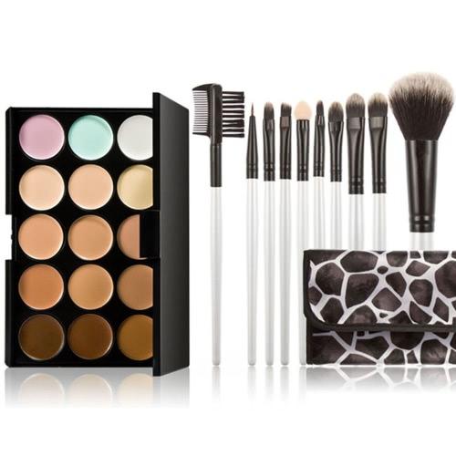 15 クリーム コンシーラー パレット目顔化粧品地球色調メイクアップ ブラシ セット化粧ブラシ ケース アイシャドウ ブラシ リップブラシと