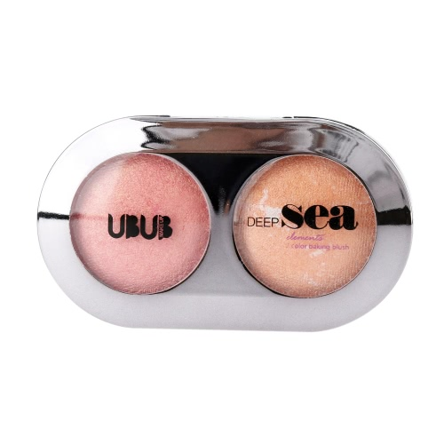 UBUB DEEP SEA Makeup 2 Color Baked Blusher Powder Shimmer with Mirror Brush