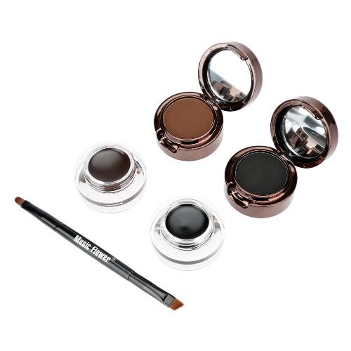 Music Flower 4 in 1 Augenbrauen & Eyeliner Creme Wasserdicht Cosmetic Set für Augen Make-up Black & Brown