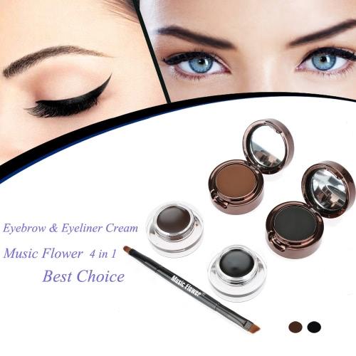 Música flor 4 em 1 sobrancelha & creme delineador à prova d'água cosmético conjunto para maquiagem de olho preto e marrom