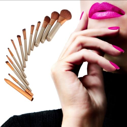12 PC/sistema nuevo maquillaje cepillos Facial maquillaje cepillo sombra de ojos cepillo labio pincel delineador de ojos cepillo profesional Kit cepillos herramientas belleza conjunto con Metal caja cosmética