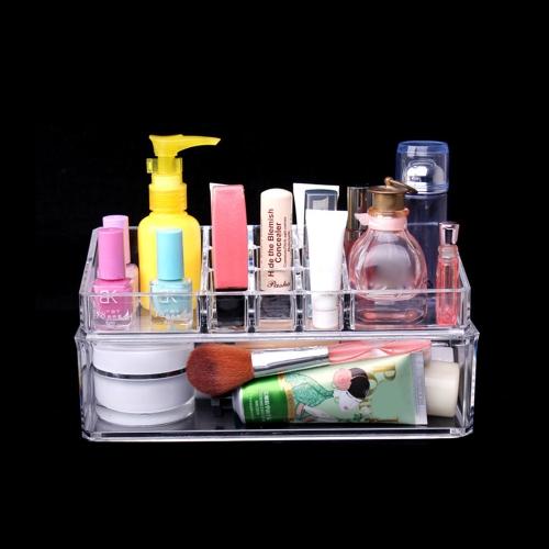 Double Layer Desktop Cosmetics Storage Box Transparent Crystal Cosmetic Box Perfume Lipstick Holder Jewelry Storage Box Clear Makeup Case