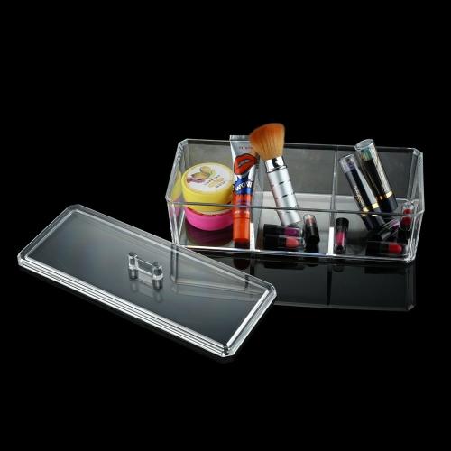 Qualidade transparente cristal Desktop cosméticos armazenamento caixa caixa armazenamento multi-funcional caixa de jóias com tampa