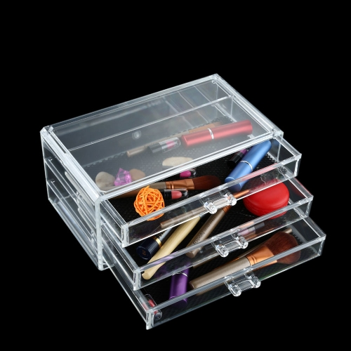 Clear Makeup Case Cosmetic Organizer 3 Drawers Jewelry Holder Storage Box