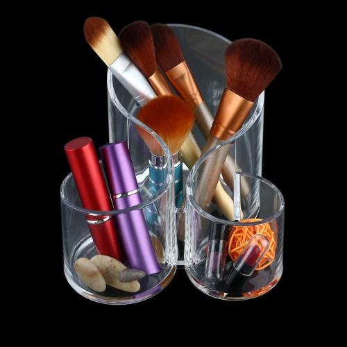 1Pc Acrylic Clear Cylindrical Holder Brush Makeup Accessory Cosmetic Organizer Display Storage Box Case