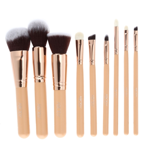 Abody 9 Stücke Make-Up Pinsel Kit Professionelle Kosmetik Make-Up Set Holzgriff Ziegenhaar Pinsel Superfine Faser Pinsel + Tasche Tasche