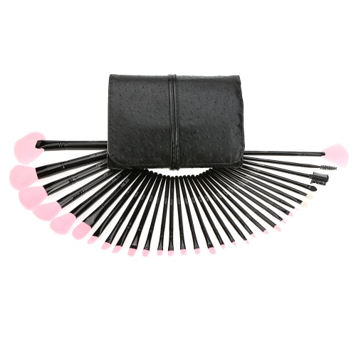 Abody 32Pcs Wood Handle Makeup Brushes Kit Professional Cosmetic Makeup Set Wood Handle Superfine Fibre Brush + Pouch Bag Case