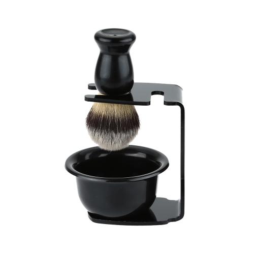 3 em 1 escova Kit barbear Frame Base de barbear + tigela de sabão de barbear + Design moderno de bacia de barbear barbear pincel acrílico materiais do cabelo barba ferramenta de limpeza de cerdas