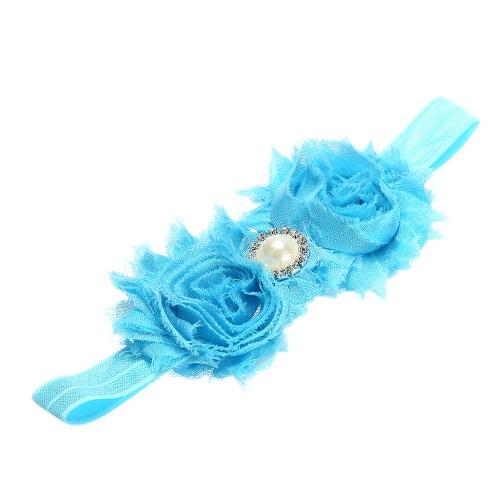 9 Farben Baby Stirnband schöne bunte Twin Blumenmädchen Haar Band Perle Strass Headwear Fuzzy Border Blue