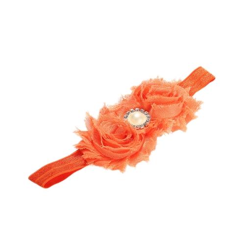 9 Farben Baby Stirnband schöne bunte Twin Blumenmädchen Haar Band Perle Strass Headwear unscharfe Grenze Orange