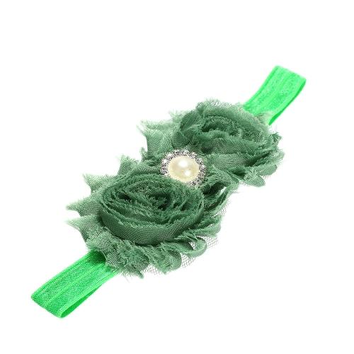 9 Farben Baby Stirnband schöne bunte Twin Blumenmädchen Haar Band Perle Strass Headwear unscharfe Grenze grün