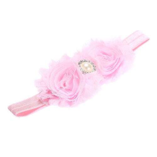 9 Farben Baby Stirnband schöne bunte Twin Blumenmädchen Haar Band Perle Strass Headwear unscharfe BorderPink