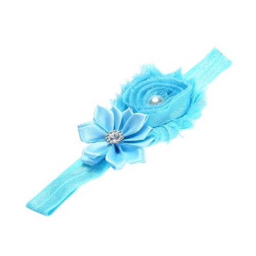 7 cores querido Headband colorida crianças meninas Headband da criança infantil laço fita flor cabelo arco faixa elástica azul