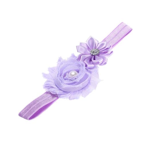7 Цетов Детская Головная Повязка для Волос Кайма Младенческой Кружевы Резиновая Лента Фиолетовая