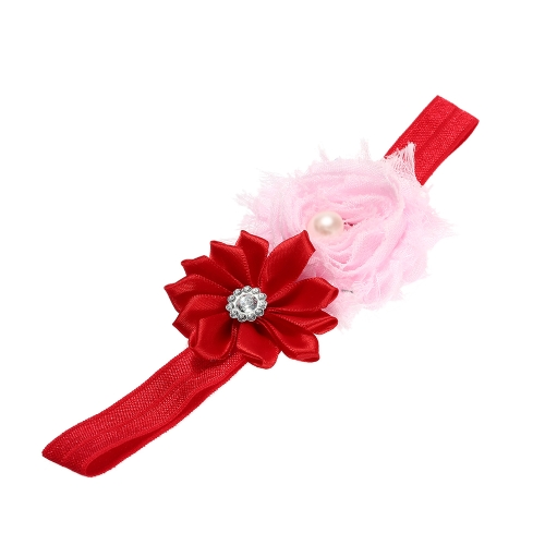 7 Farben Baby Stirnband bunte Kids Mädchen Stirnband kleinkind kleinkinder Lace Ribbon Blume Hair Bow Gummiband rot