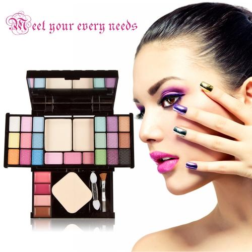 Nova paleta de maquiagem conjunto Eyeshadow Lip Gloss Fundação pó blush Puff ferramenta