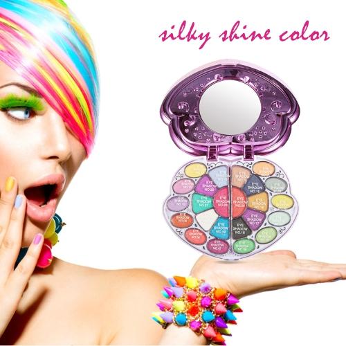 Nueva paleta de maquillaje conjunto herramienta de labios sombra de ojos brillo Fundación polvo colorete Puff