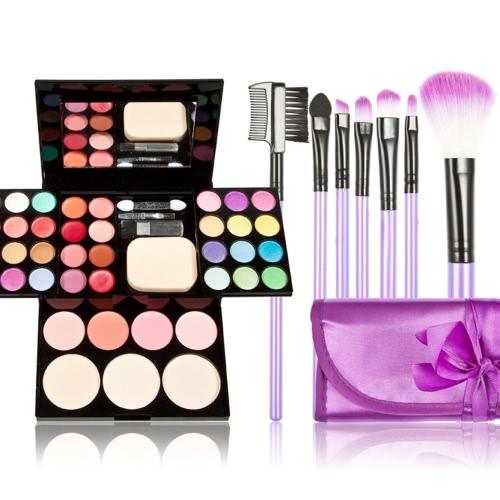 New Eyeshadow Lipstick Make-up Powder Blusher Makeup Palette Set & 7PCS Purple Makeup Cosmetics Brush Set + Case