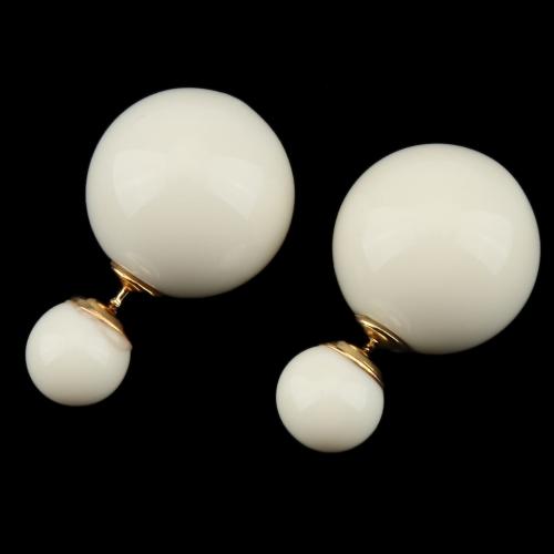 1 Pair Fashion Double Side Earrings Big Pearl Stud Ear Jewelry for Women