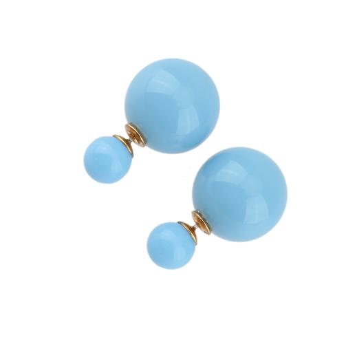 1 paar Fashion Double Side Ohrringe große Perle Stud Ohr Schmuck für Frauen