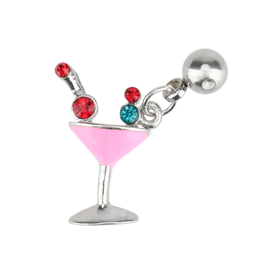 Nipple Ring Cocktail with Pendant and Cubic Zirconia Stainless Steel Body Piercing Jewelry