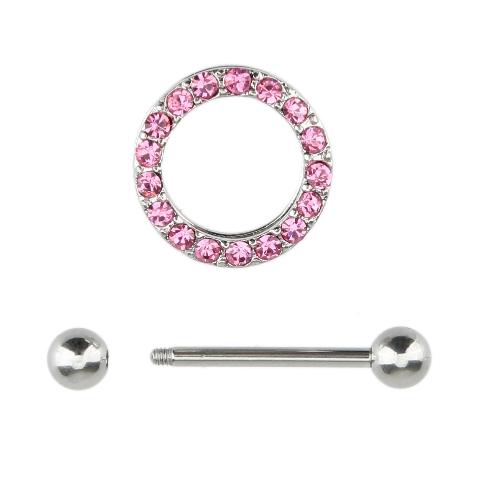 女性ボディ宝石類のためにバーをピアス 1 個舗装円ニップル シールド体