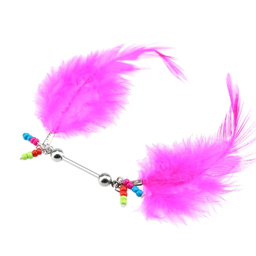 1pc mamilo escudo Piercing Bar para as mulheres do corpo jóias Rose Red Feather do corpo