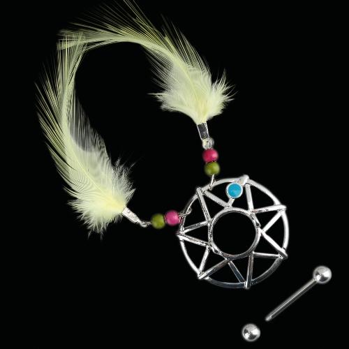 Sonho de mamilo Tribal de Sun anel jóia Piercing do corpo amarelo penas