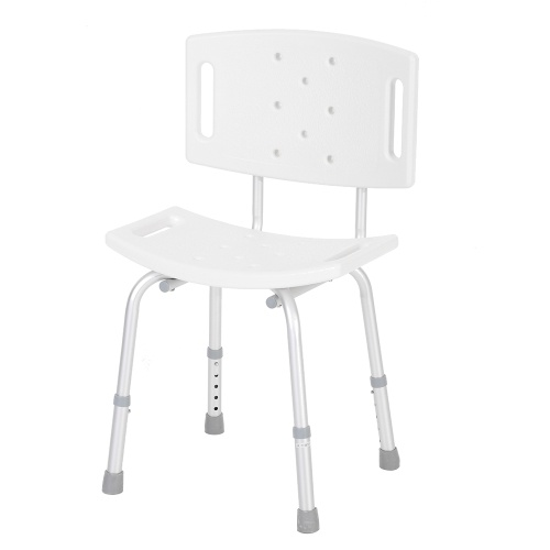 Adjustable Height Shower Chair Bathtub Bench Bath Seat Stool with Detachable Backrest