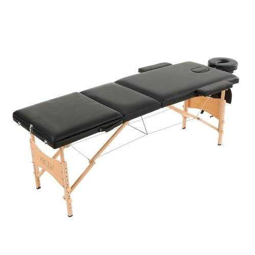 Segunda mano Abody 3 veces mesa de masaje portátil 84''L Terapia de masaje ajustable cama Facial SPA cama tatuaje dispositivo de salón de belleza negro