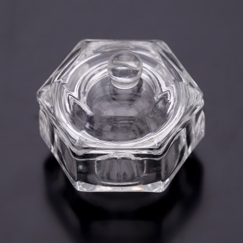 Crystal Glass Nail Art Acrylic Dappen Dish Bowl Cup Liquid Powder with Cap Lid