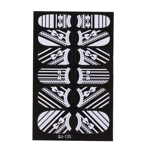Anself Anself Anself 12st/Pack 3D Mode-Designs Weisse Spitzen Nail Art Sticker Transparent Blume Nail Decals DIY DecorationsTools