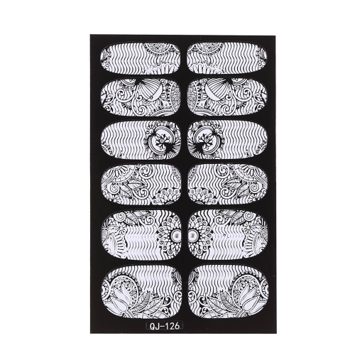 Anself Anself Anself 12st/Pack 3D Mode-Designs Weisse Spitzen Nail Art Sticker Transparent Blume Nail Decals DIY DecorationsTools
