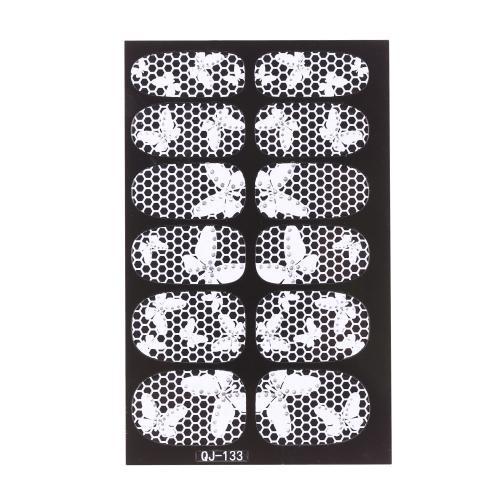 Anself Anself 12st/Pack 3D Mode-Designs Weisse Spitzen Nail Art Sticker Transparent Blume Nail Decals DIY DecorationsTools