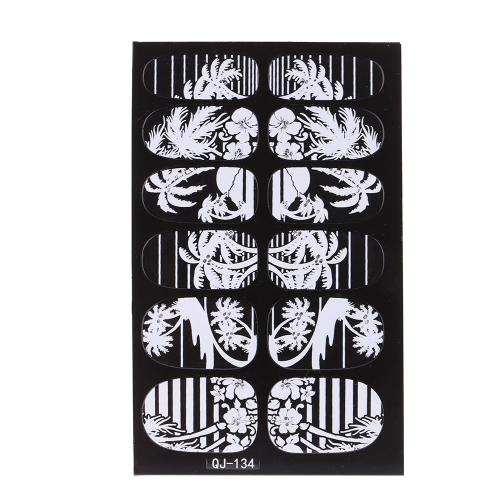 12шт/УП дизайна моды 3D белый кружева ногтей искусство Наклейки прозрачные цветок ногтей наклейки DIY DecorationsTools