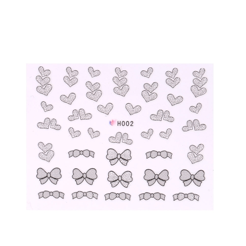3D Black Lace Flower Design Nail Art Stickers Decals for Nail Tips Decoration Tool