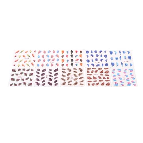 Красочные красоты леопард воды передачи наклейки ногтей советы перо таблички