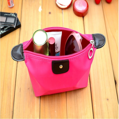 Women's Folding Cosmetic Bag Large Capacity Case Candy Color Nylon Makeup Case