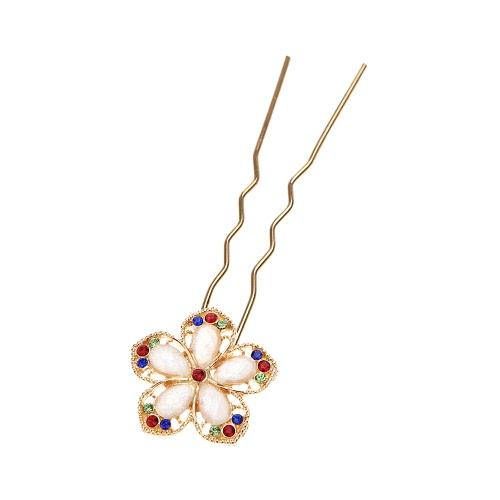 Elegant Gold Crystal Rhinestones Flower Hairpin Hair Clip Jewelry Decoration Accessory
