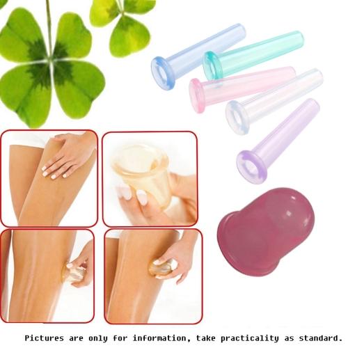 5pcs здравоохранения анти-целлюлит вакуумной Силиконовой массаж Баночный Кубок купирования стекла купирования случайных цветов устройства