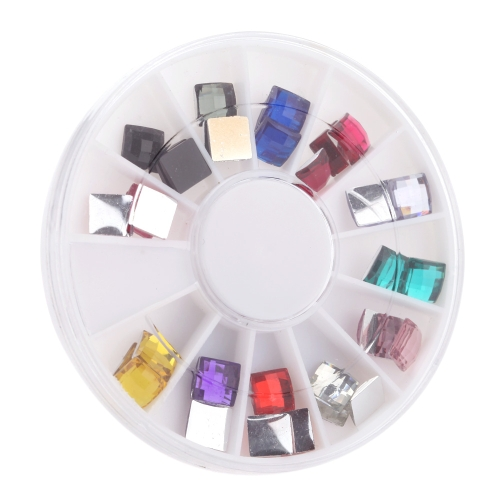 3D Colorfull Diamond Women Lady Girl Nail Art Square Stickers Nail Tips DIY Decorations