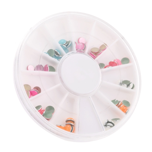 Nail Art Decoration Colorful Coated Glitter Semicircle Shape Nail Tips Stickers