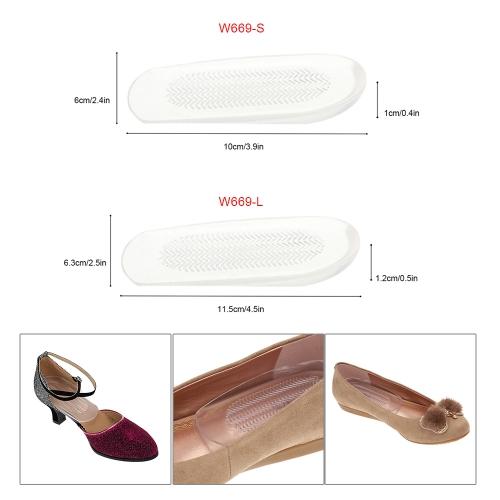 1 ペア透明な足のかかとカップ クッション PU 靴パッド半分インソール滑り止め足ケア プロテクター