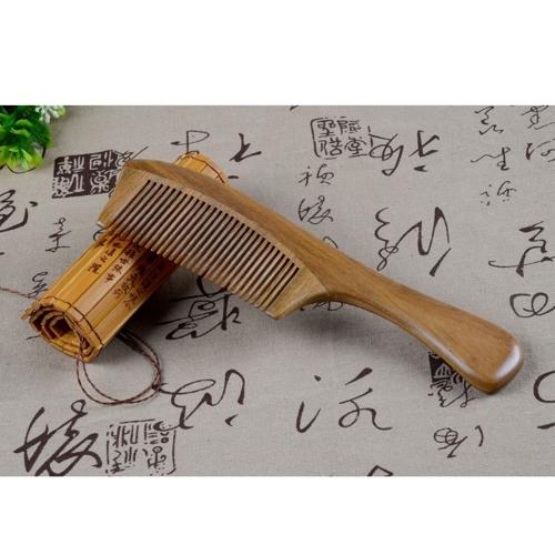 1 pc madeira pente Pente de madeira sândalo Natural artesanal diáfano doce artesanal pente de madeira