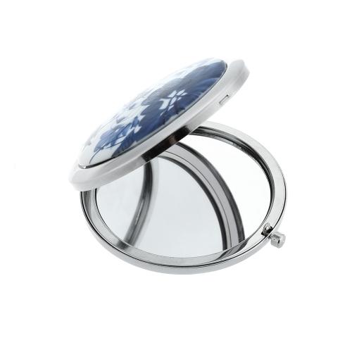 Нержавеющая путешествия рука больно синий и белый керамические Lotus компактный карманные складные Косметика косметики увеличительное зеркало