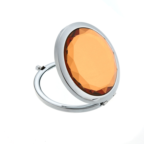 Stainless Travel Hand-pained Blue and White Ceramic Lotus Compact Pocket Folding Makeup Cosmetic Magnifying Mirror