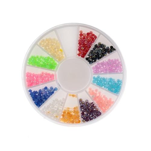 Colores bricolaje 1set de uñas arte mitad redonda perlas Rhinestone decoración redondo rueda herramientas del clavo